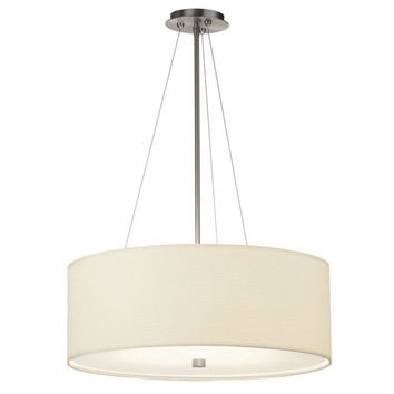 Philips BKIT-F43036U-F431 Taylor Four-Light Satin Nickel Fluorescent Drum Pendant w/ 24 Inch White Grasscloth Shade