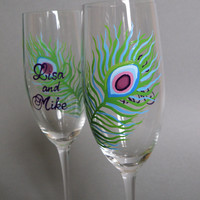 Hand painted Decoration Wedding Toasting Flutes Set of 2 Personalized Champagne glasses Peacock Feather
