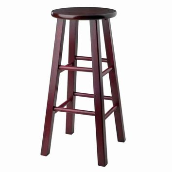"Ivy 29"" Bar Stool Rustic Maroon w/ Walnut Seat"