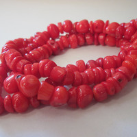 Red bamboo coral long necklace or bracelet, 2 pieces in 1 - free shipping by RobertaValle