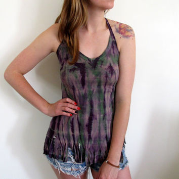 Hand Dyed Tie Dye Tank Womens Summer Hippie Boho Bohemian Purple Fitted Fringe