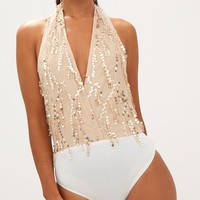 BeigeV-neck Halter Backless Sequin Detail Bodysuit