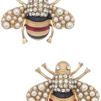 Busy Bee Pearl Earrings