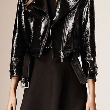 Cropped Patent Leather Biker Jacket