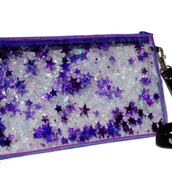 Iridescent Bag Purple Clutch Bag Purple Glitter Clutch in Starburst