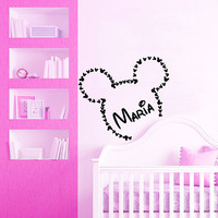 Mickey Mouse Name Wall Decal Mickey Ears PERSONALIZED BABY NAME Vinyl Sticker Art Home Interior Design Kids Bedroom Nursery Decor KI113