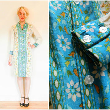 60s vintage button down dress / hippie mod shift dress / flower child floral shift dress / long sleeve linen blue boho bohemian size xs xxs