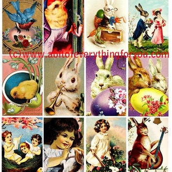 "easter bunny rabbit baby chicks clip art collage sheet 2"" x 3"" inch graphics images digital download craft printables"