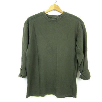 vintage Army Green long sleeve long underwear top minimal look Thermal shirt basic Rugged COED Layering Fall shirt Medium