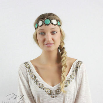 Stone Beaded Headband, Crystal Jewel beaded, Headbands, Circle, Stretchy elastic headband, Turquoise, Seed beaded, Bohemian headbands
