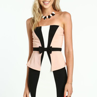 COLOR BLOCK PEPLUM BOW DRESS