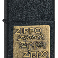 Zippo Brass Emblem Black Crackle Lighter