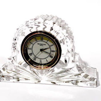 Waterford Crystal Table Clock, Lismore Design, Personal Clock, Desk Accessory, Cut Crystal Paper Weight, Vintage 1970's, Gift For Her