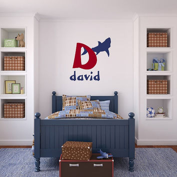 Shark with Monogram and Name Vinyl Wall Decal - Kids Room Decals - Shark Decals - Initial Wall Decals - Monogram Wall Decals 22537