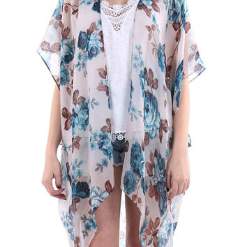 Sheer Woven Sleeved Rose Print Duster-Beige