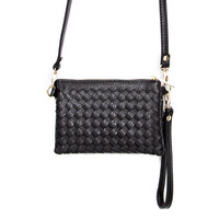 New Adventures Weave Wristlet Handbag - Black