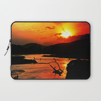 African River Sunset Laptop Sleeve by minx267