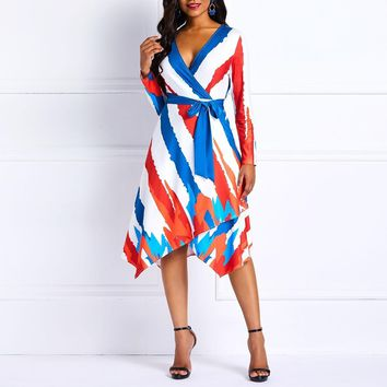 Women Sexy Striped Dress Elegant Vintage Print Color Block Dress Casual Office Tunic Swing Asymmetric African Lady Midi Dress
