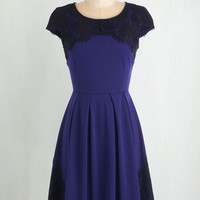 Mid-length Cap Sleeves Fit & Flare Intermission Impossible Dress in Royal Blue