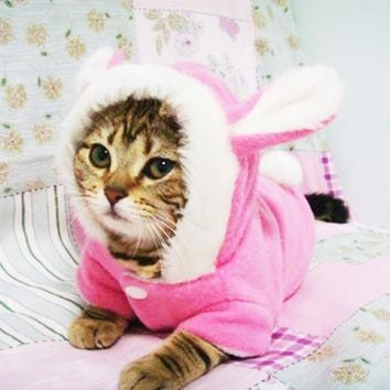 Cute Cat Clothes Easter Rabbit Animals Clothing Costume Fleece Warm Cat Clothes Coat Jackets Outfit for Cats Costume 29S2