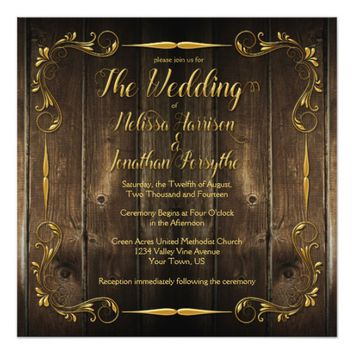 Ornate Gold Custom Text Swirls Barn Wood Wedding Card