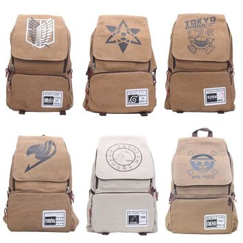 Cool Attack on Titan One Piece Naturo Totoro  Tokyo Ghoul Fairy Tail Cosplay Backpack Large Capacity Travel Rucksack School Book Bag AT_90_11