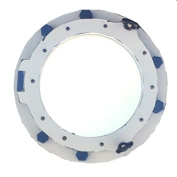 Porthole Wall Mirror - White with Blue Accents 14-in