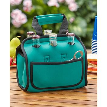 Portable Travel Insulated 6 Pack Bottle Carrying Tote Bag