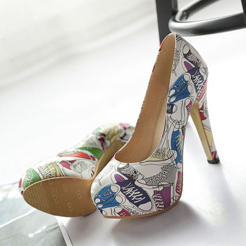 Graffiti shoes for women shoes pumps new arrival spring 2017 sexy super high heels thin heels chinese platform big sizes 34-43