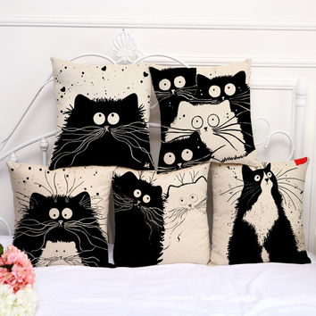 "Square 18"" Home Decorative Pillow Cartoon Cartoon Black White Cats Printed Throw Pillow Cover Car Home Decor Cushion Case"