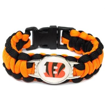 Cincinnati Bengal Paracord Bracelet American Football Team Umbrella Braided Bracelet Football Fans Gift