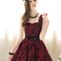 Kawaii Lolita Rose Printing Collect Waist Tank Dress - S M L from Tobi's Finds