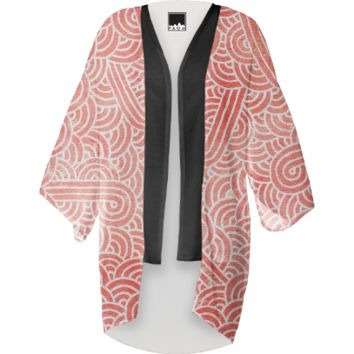 Peach echo and white swirls doodles Kimono