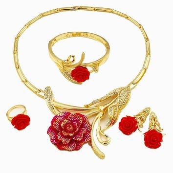 Fashion New Women Bridal Wedding Jewelry Sets Dubai Italy Flower Necklaces Red Blue Yellow African beads Jewelry Set Accessories