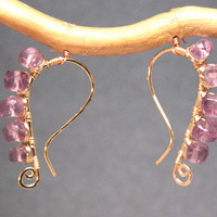 Luxe Bijoux 158 Hammered drops wrapped with amethyst