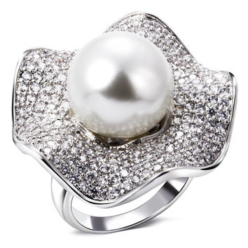 Elegant Hot new women fashion ring 2017 Synthetic pearl rings for women Big luxury ring New jewelry Free postage