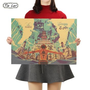 TIE LER One Piece Ace Poster Cartoon Comic Kraft Paper Cafe Bar Home Decor Painting Wall Sticker 50.5x35cm