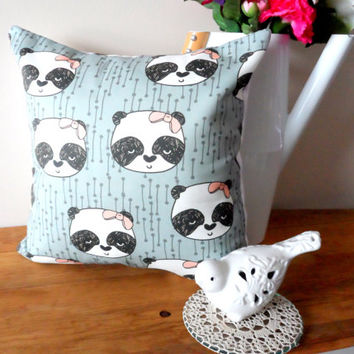 Sweet Panda Pillow Case, 14X14 Cream, Shabby Chic with Envelope Back, Home Decor, Animal