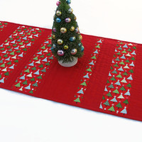 Christmas Table Runner, Quilted Christmas Trees Tablerunner