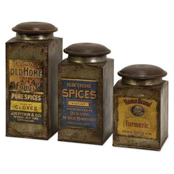 Canister Set 3 Pce Wood Iron Vintage Antique Retro Rustic Country Primitive