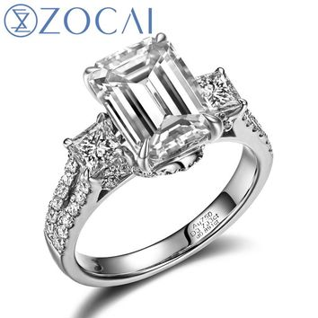 ZOCAI TRIO EMERALD CUT PAVE 2 CT NATURAL EMERALD CUT 18KT WHITE GOLD DIAMOND ENGAGEMENT RING