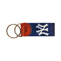 New York Yankees Needlepoint Key Fob in Navy by Smathers & Branson