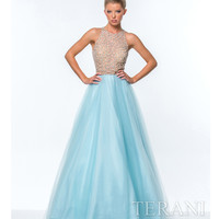 Sky Blue Illusion Crystal Top Ball Gown