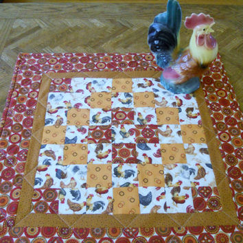 Farmhouse Rooster Quilted Table Topper Scrappy Patchwork Table Runner