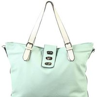 mint green handbag with buckle flap - debshops.com