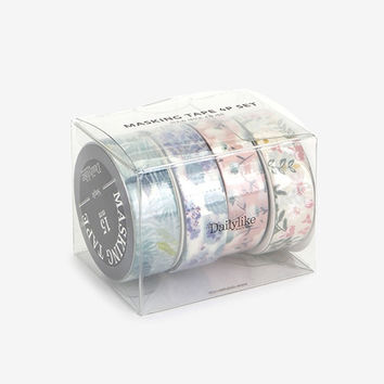 Flower deco masking tape set of 4