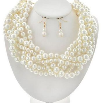 Classic Statement Chunky Braided Strands Cream Pearl Beads Necklace Earrings Set Gift Bijoux