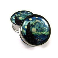 Starry Night Picture Plugs gauges - 00g, 1/2, 9/16, 5/8, 3/4, 7/8, 1 inch