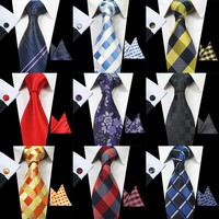 Men's Silk Tie Set (Tie, Pocket Square, & Cufflink Set)