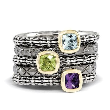 Black & 14K Gold Plated Sterling Silver Square Gemstone Stack Ring Set